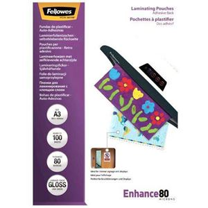 Picture of Δίφυλλο πλαστικοποίησης Fellowes Adhesive Back Glossy A3 80 mic 5302302