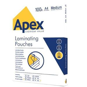 Picture of Δίφυλλο πλαστικοποίησης Apex/Fellowes Medium A4 125mic 6003501